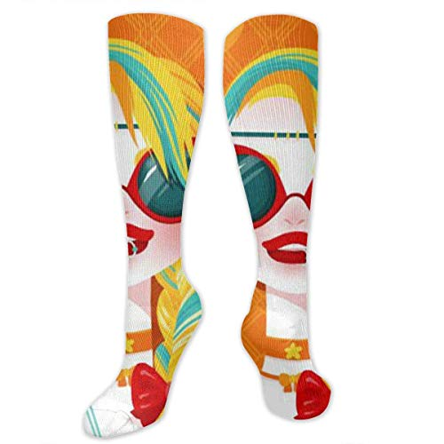Fashion Girl with Horse Tail Orange Knee High Compression Stockings Athletic Socks Personalized Gift Socks for Men Women Teens Girls ()