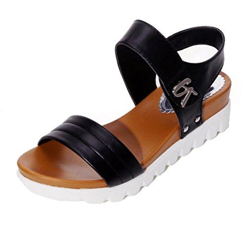 MOIKA Sommer Sandalen Frauen im Alter von flachen Mode Sandalen Bequeme Damen Schuhe EU41,Schwarz