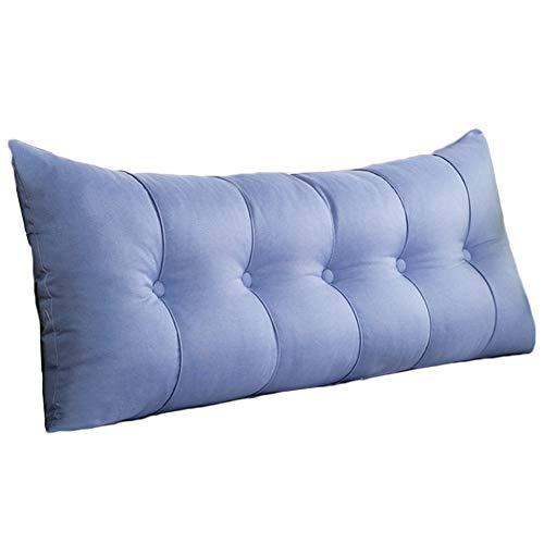 WENZHE Kopfteil Kissen Bett Rückenkissen Rückenlehne Rechteck Waschbar Stoff Weicher Fall Zuhause Multifunktions, 6 Farben (Farbe : Blau, größe : 120x60x20cm) -