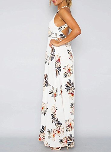 Azbro Women's Elegant Halter Neck Floral Print Maxi Dress white
