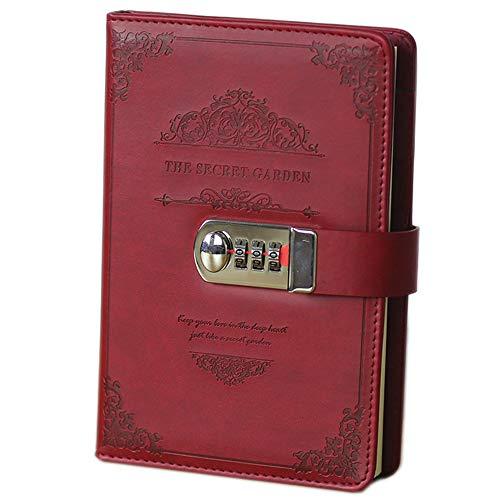 Lirener Retro PU Lederbuch Tagebuch Notizbuch Notebook Skizzenbuch Journal Planer Organizer(Geheimer Garten), Notebook Sketchbook Memo Tagebuch Mit Schloss Code Passwort, 200x130mm (Passwort Mit Tagebuch)