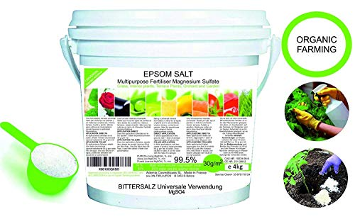 Abono Ecológico Sales de Epsom (sulfato de Magnesio) FERTILIZANTE DE MAGNESIO HUERTA 4 kg Abono Rosales, Tomates, Cítricos y Frutales Favorece el Crecimiento de Cultivos, Jardines, Plantas Interior
