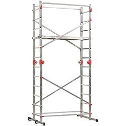 """Hailo 1-2-3 500 Combi - Andamio-escalera de aluminio de 2 x 12 peldaños con sistema """"Hailo Speed Lock"""", 324 x 170 x 120 cm (altura max. de trabajo: 4,35 m)"""