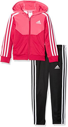 adidas Mädchen Hooded Polyester Trainingsanzug, Super Pink F15/Energy Pink/White/Black, 152