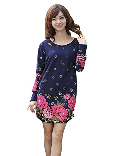 SaiDeng Femme Imprimé Floral Barbouillage Longue Manches Casual Sweater Robes FD01