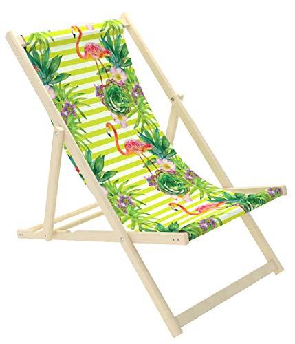 Novamat Liegestuhl, klappbar Sonnenliege Garten Möbel (grüne Blätter) -