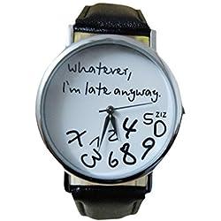 kingko® Uhren,Vintage Damenmode ?Whatever, I'm late anyway? Graviert Illusion Damenuhr Quarzuhr Armbanduhr