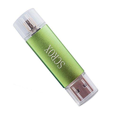 scrox Speicher USB 2.0Für 8GB/16GB/32GB kompatibel mit Handys OTG USB Flash Key Pen Drive Memory Stick Grün