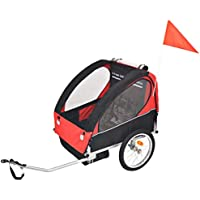 SOULONG Kids' Bicycle Trailer, Children Jogger Stroller with Quick Release Hitch, 2 Inner Pockets and 2 Side Windows, 5-Point Safety Harness System, Red and Black Load 30 kg