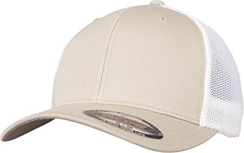 Flexfit Mesh Trucker Cap 2-Tone - Unisex Baseballcap für Damen und Herren, Farbe Khaki/White, S/M