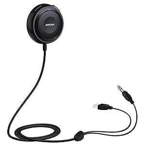 Mpow Streambot One Ricevitore Bluetooth 4.0 Kit Vivavoce, Ricevotore Audio Musicale per Auto Stereo, Supporta APTX, con 3,5 mm Aux Input Jack, Caricabatteria per Auto con Doppia Porta USB e Base Magnetico