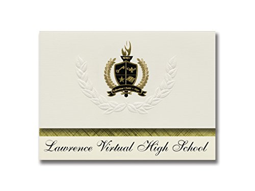 Signature Announcements Lawrence Virtual High School (Lawrence, KS) Graduationsankündigungen, Präsidential-Stil, Grundpaket mit 25 goldfarbenen und schwarzen metallischen Folienversiegelungen