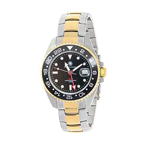 Constantin Durmont Unisex Erwachsene Analog Quarz Uhr mit Edelstahl Armband Cavity GMT 130545