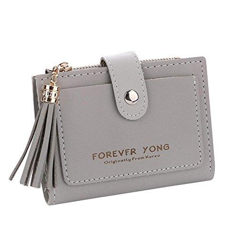 Brieftasche Damen Btruely Geldbörse Klein Brieftasche Kurze Portemonnaie mit Münze Tasche Karte Halter Leder Geldbörse Vordertasche Mini Wallet (Grau)