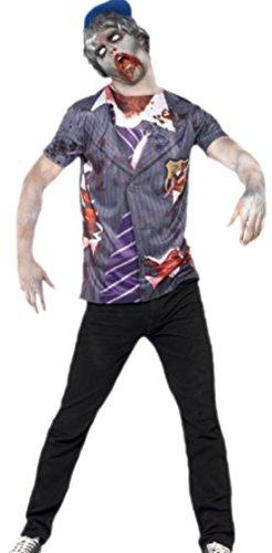 Halloween Schuljungen Kostüm - erdbeerloft - Herren Zombie Schuljungen Outfit Kostüm , L, Mehrfarbig