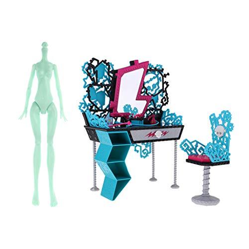 FLAMEER Stilvolle 1/6 Nackte Mädchen Puppe Körper \u0026 Schminktisch Stuhl Für Monster High Puppe