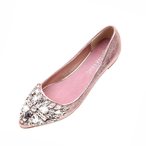 FEITONG Damen Ballerinas | Bequeme Slip-Ons | Spitze Flache Schuhe | Strass Freizeit Flache Schuhe (EU:40, Rosa) (Satin Schuhe Flache)
