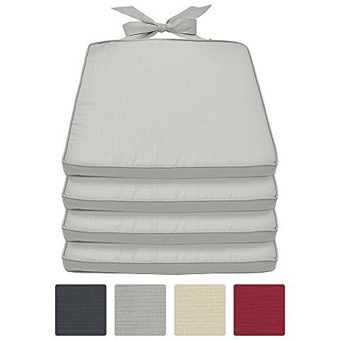 Beautissu Lot de 4 Galettes de chaise Pia - Coussin Confortable coloré Idéal pour intérieur extérieur 45x40x5cm déhoussable Gris