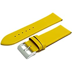 Fine Calf Leather Watch Strap Band 28mm Yellow with Chrome (Silver Colour) Buckle. Free Spring Bars (Watch Pins)