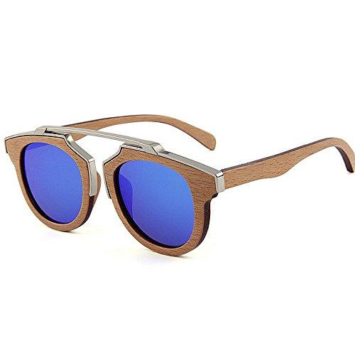 Y-WEIFENG Herren Sonnenbrillen HandmadeMetal Dekoration Holz polarisierte Sonnenbrillen Gentleman UV-Schutz Fahren Strand Sonnenbrillen (Farbe : Blau)