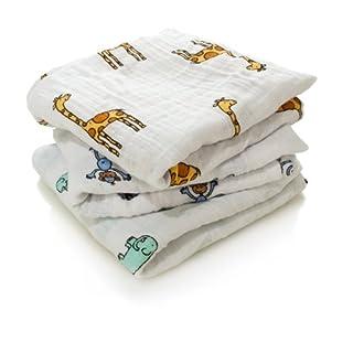 aden + anais musy squares, 100% cotton muslin, 70cm X 70cm, 3 pack, jungle jam