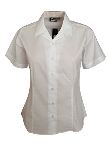 Girls Ladies Revere Collar Short Sleeve Fitted Blouse School Uniform Office Wear (36 (15-16 YEARS), WHITE)