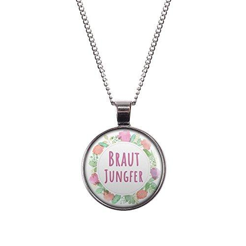 Mylery Halskette mit Motiv Braut-Jungfer Blumen-Kranz silber 28mm