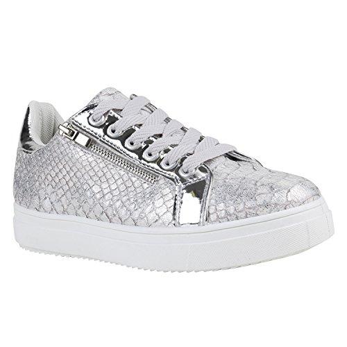 Moderne Damen Sneakers Lack Zipper Sportschuhe Freizeit Schuhe Silber  Silber Weiss