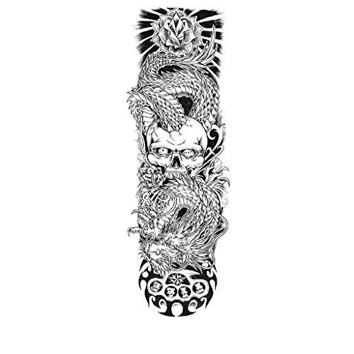 Viesky 1 Blatt Große Volle Arm Temporäre Tätowierung Aufkleber Wasserdichte Schädel Rose Lotus Fisch Frauen Männer Körperkunst Malen Gefälschte Tattoo Ärmel