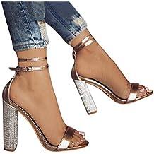 Minetom Sandali Donna Scarpe da Spiaggia Estate Moda Partito Sandalo Sexy  Eleganti Peep Toe Bling Diamante 941ca71882a