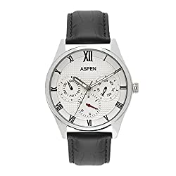 Aspen Mens White Color Dial With Ionic Steel Plating Analogue Leather Wrist Watch For Formal Use