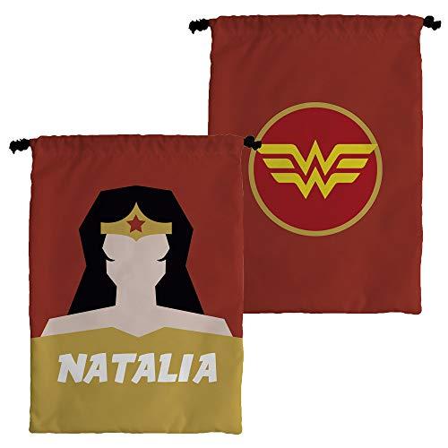 Personalisierte Snack Kindertasche mit Namen. Superhelden. Verschiedene Designs zur Auswahl. WONDER-WOMAN (Wonder Seil Woman)