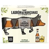 Ladrón de Manzanas Cider - Pack de 6 Botellas x 250 ml + Vaso de Regalo - Total: 1.5 L