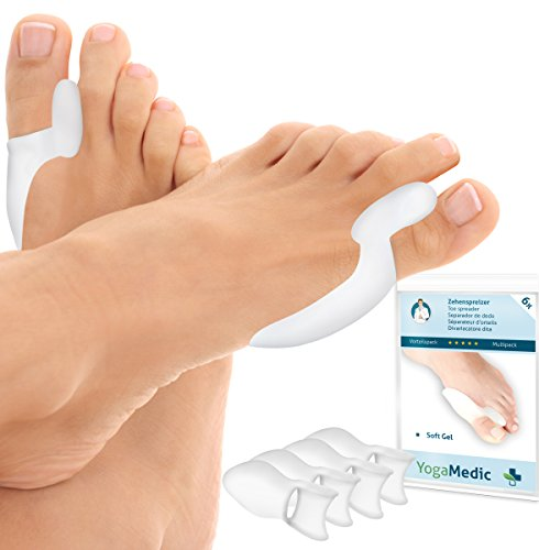 6x YogaMedic orthopädische Zehenspreizer bei Hallux Valgus - Super weich, komfortabel und hohe Lebensdauer - BPA Frei - Mit Zufriedenheitsgarantie - Soft Gel Silikon Zehentrenner