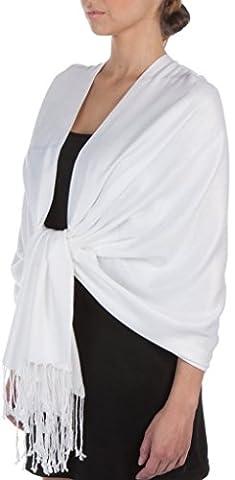 Écharpe Étole Pashmina Foulard Châle Touché Soyeux Couleur Unie 198cm x 90cm (+ 40 Couleurs) (198cm x 90cm, blanc)