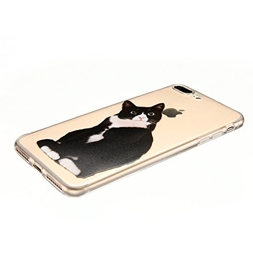 Cover iPhone 7 plus Custodia iPhone 7 plus Silicone Anfire Morbido Flessibile TPU Gel Case Cover per Apple iPhone 7 plus (5.5 Pollici) Ultra Sottile Clear Trasparente 3D Copertura Antiurto Bumper Prot Kitty