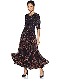 Label RITU KUMAR Round Neck Half Sleeves Long Dress with Camisole