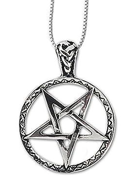 Anhänger umgedrehtes verziertes Pentagramm Pentagrammanhänger 925er Silber Schmuck Schutz mit Kette Halskette...