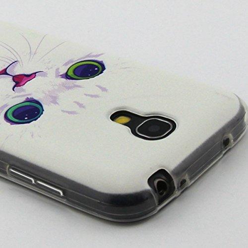 Ekakashop Samsung Galaxy S4 mini i9190/i9192 Hülle, Galaxy S4 mini Muster Weiche Silikon TPU Gel Case, Bunte schöne Schutzhülle Schale Durchsichtig mit Blume Tier Mädchen-Serie Muster Backcover Rückse Weiße Katze