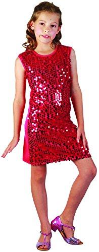 Rotes Disco-Kostüm mit Pailletten für Mädchen 122/134 (7-9 (Kostüm Disco Mädchen)