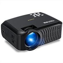 2000 Lúmenes LED Multimedia Video Proyector Soporta 1080P Mini Proyector para TV PC Tablet iPhone Andriod Smartphone, Ideal para Teatro de Cine en Casa, Juegos Full HD y Noche de Películas al Aire Libre (Negro)
