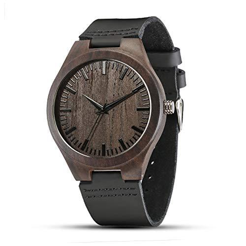 Shifenmei Herren Uhr Quarz Analog Gravur Holzuhr mit Leder Armband Personalisiertes Geschenk für Geburtstag inkl. Geschenkbox S5520