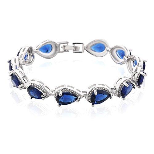 GULICX Silber-Ton Blau Kristall Kette Armband Saphir Farbe Tropfen Zirkonia CZ Tennisarmband