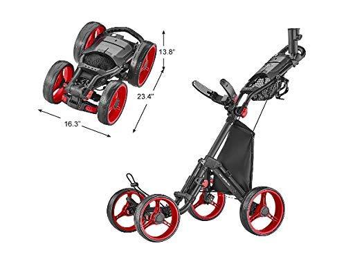 CaddyTek Superlite Quad V8 4-Rad Trolley Push Golftrolley Golfcaddy Golfwagen (schwarz/rot)