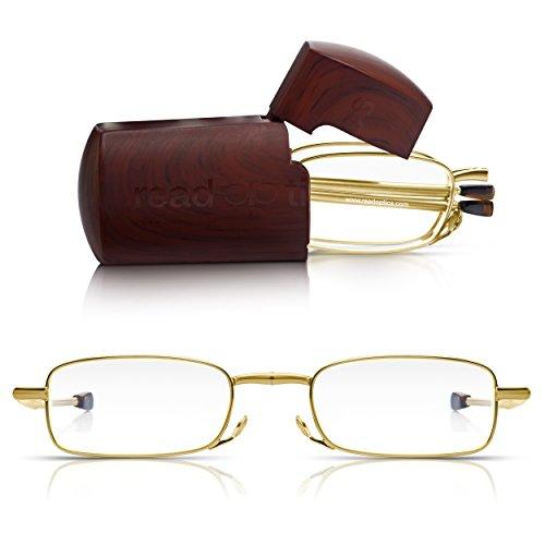 Read Optics faltbare Goldbrille: Lesehilfe mit Vollrand in Stärke 1,5 Dioptrien für Herren/Damen. Mit Hartschalen-Etui, flexiblen Metall-Bügeln, Federscharnier. Hochwertige Gläser und edles Design