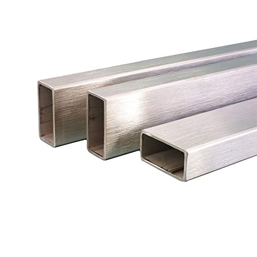 Edelstahl Rohr Rechteck/Vierkant Oberfläche geschliffen, V2A, Korn 240, FRACHTFREI. Länge 1000 mm Abmessungen 40 x 20 x 2 mm
