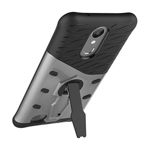 Dual Layer PC + Soft TPU Armor Defender Case Heavy Duty Vollschutz 360 ° Drehbarer Stand Shockproof (Stoßdämpfung) Abdeckung Für LG K10 2017 ( Color : Black ) Silver