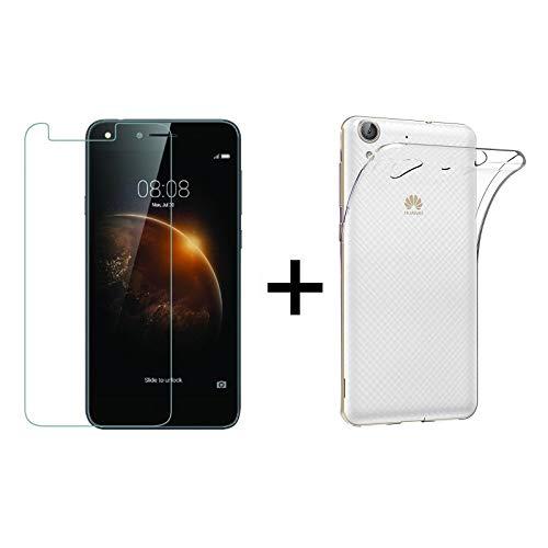 TBOC Pack: Funda de Gel TPU Transparente + Protector Pantalla Vidrio Templado para Huawei Y6II - Y6 2. Silicona Ultrafina y Flexible. Protector Resistente a Golpes Caídas y Arañazos