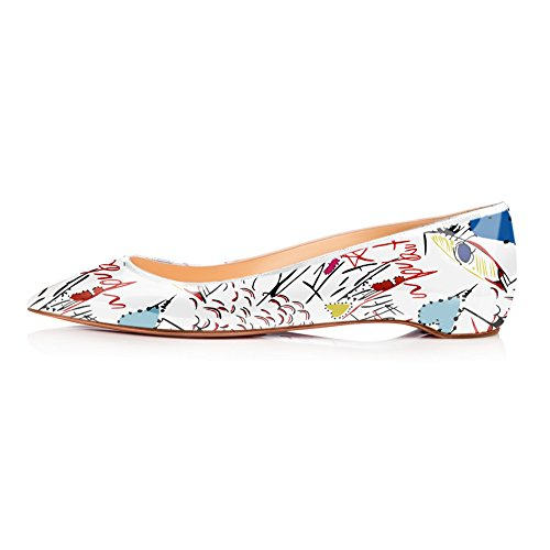 Onlymaker Women's Casual Pointed Toe Ballet Comfort Soft Low Heel Flat Shoes-White Graffiti-Pointed toe-40 - Womens Casual Ballet Flat