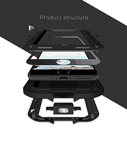 iPhone 8 Plus Hülle, Love mei Mächtig Leistungsstarke Schwerlast Hybride Aluminium Metall Rüstung Stoßfest Schneesicher Schmutzabweisend Staubdicht Case für beide Apple iPhone 8 Plus and iPhone 7 Plus Rot